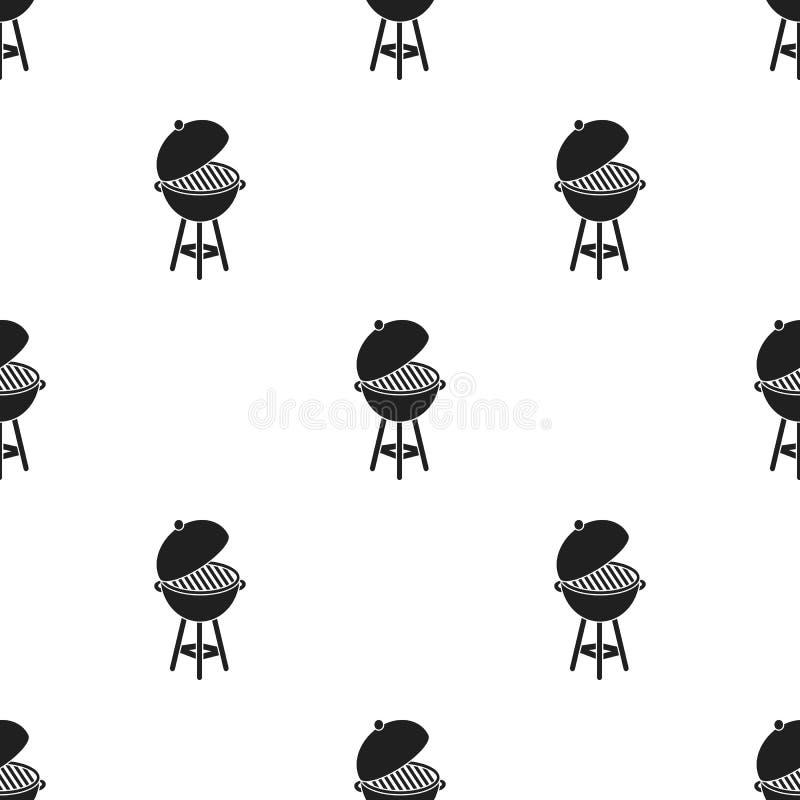Arrostisca col barbecue l'icona nello stile nero isolata su fondo bianco Illustrazione di vettore delle azione del modello di gio illustrazione di stock