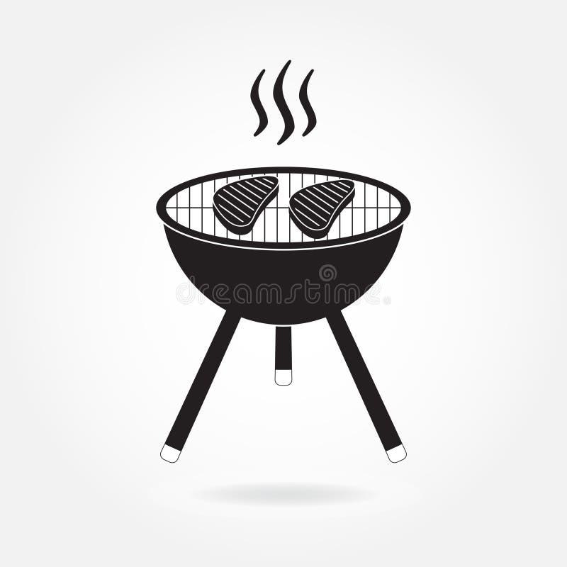 Arrostisca col barbecue l'icona o il segno della griglia isolato su fondo bianco Simbolo del BBQ Illustrazione di vettore royalty illustrazione gratis