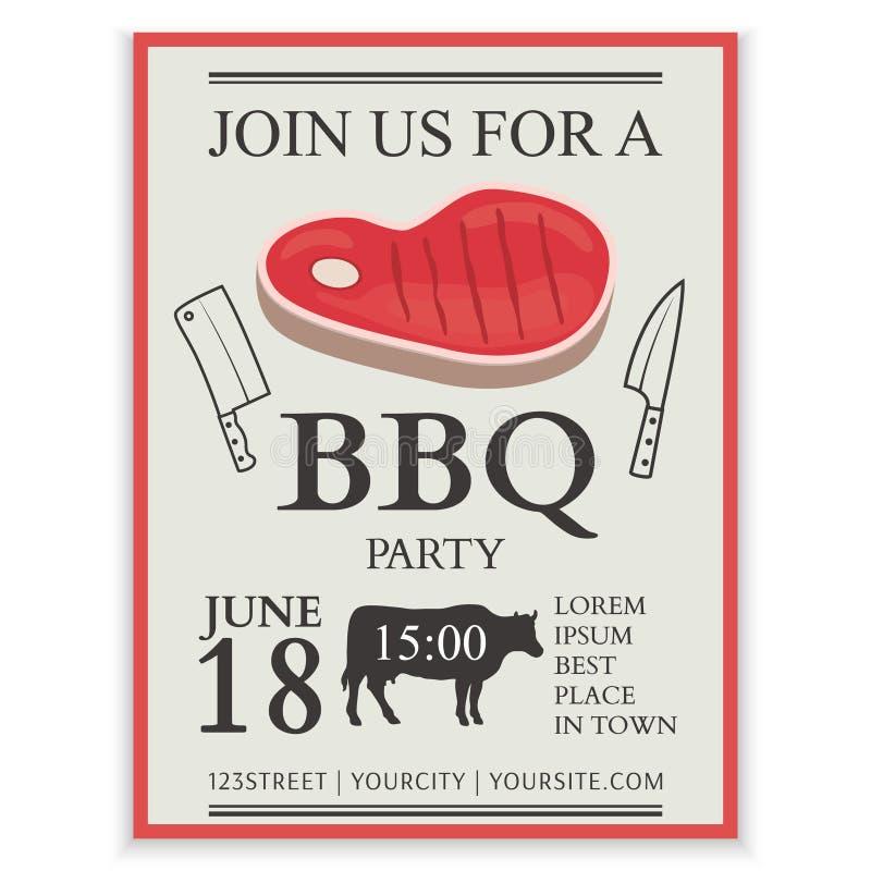 Arrostisca col barbecue l'opuscolo del ristorante del menu, progettazione del modello del bbq invito Aletta di filatoio del menu  royalty illustrazione gratis