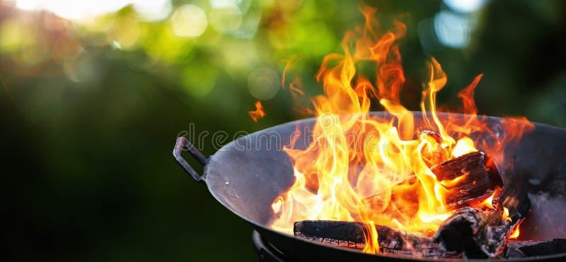 Arrostisca col barbecue la griglia Fiamma del fuoco fotografia stock