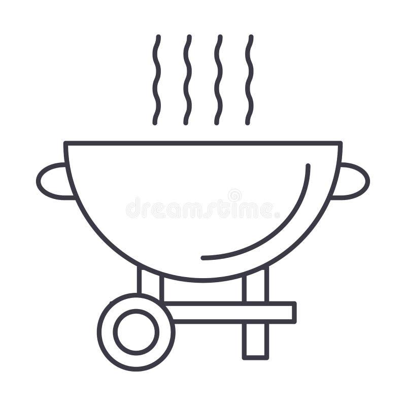 Arrostisca col barbecue la linea l'icona, il segno, illustrazione di vettore della griglia su fondo, colpi editabili royalty illustrazione gratis