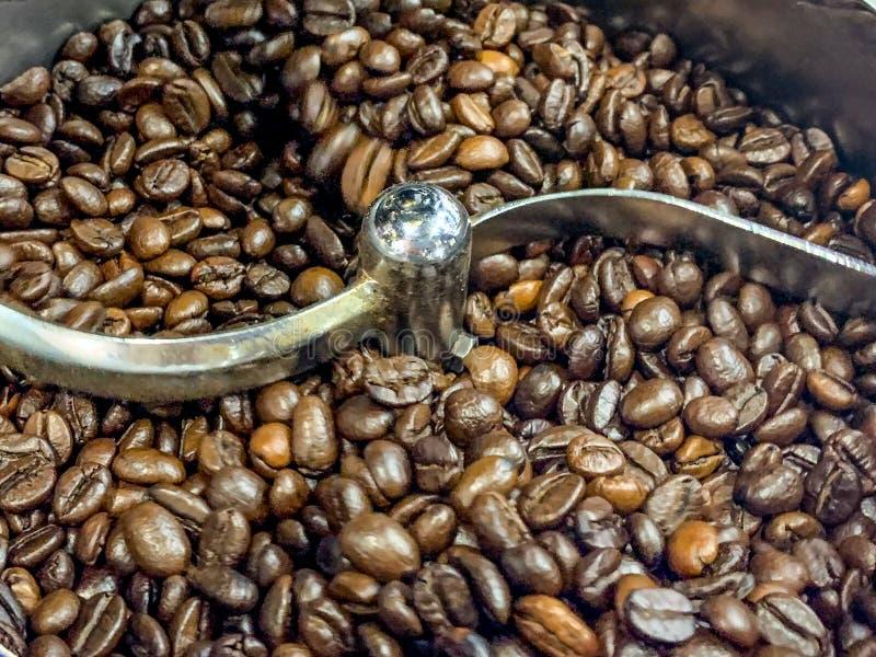 Arrosto del chicco di caffè in macchina automatica fotografia stock