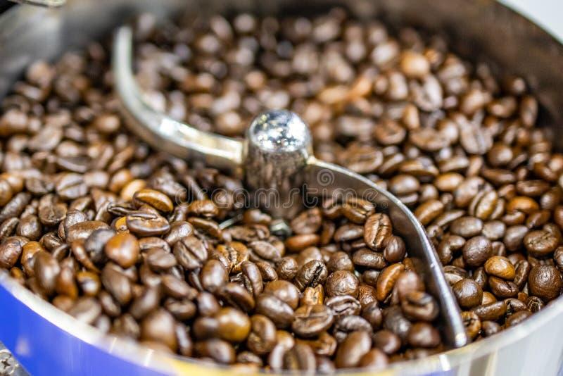 Arrosto del chicco di caffè in macchina automatica senza gente immagine stock
