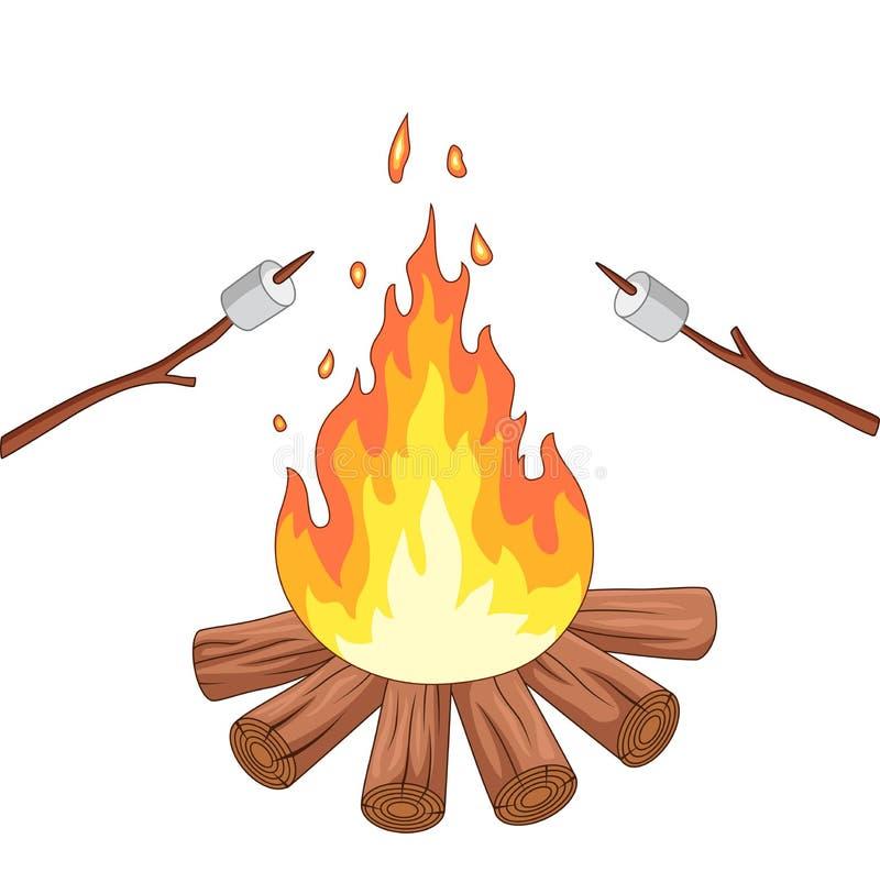 Arrosto della caramella gommosa e molle e del fuoco di accampamento su un bastone illustrazione di stock