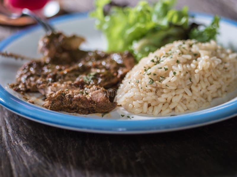 arrosto di maiale con riso fotografia stock libera da diritti