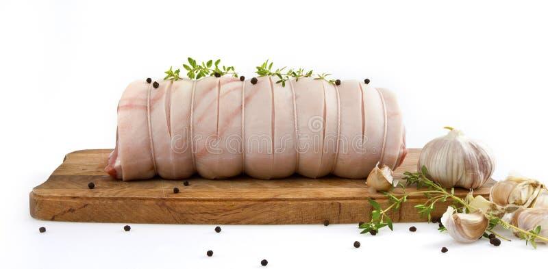 Arrosto rotolato fresco della carne suina immagine stock libera da diritti