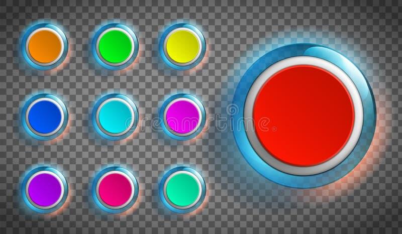 Arrotonda pulsanti colorati per il sito Web o l'app fotografie stock