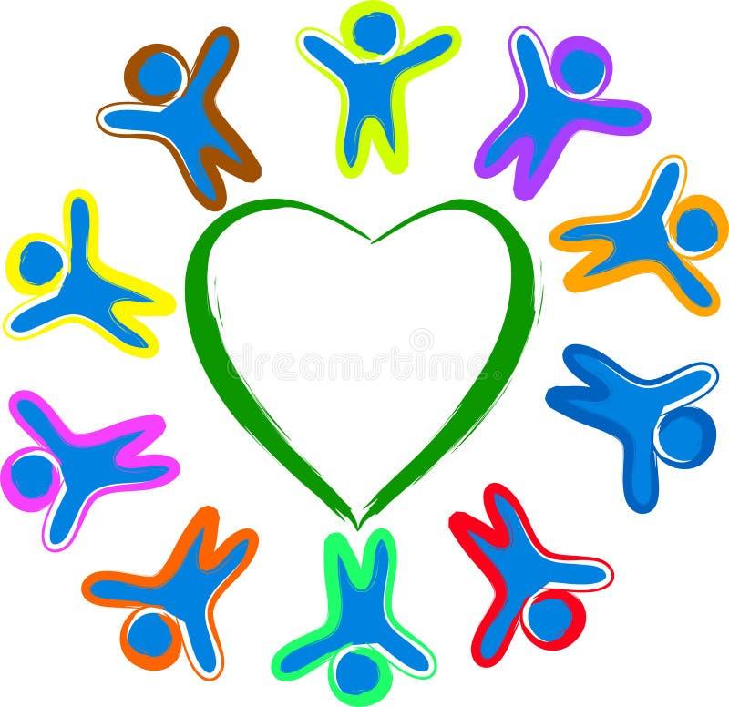 Arround das crianças o coração ilustração do vetor