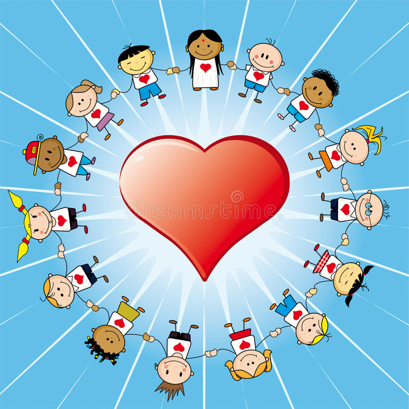 Arround dei bambini un cuore   royalty illustrazione gratis