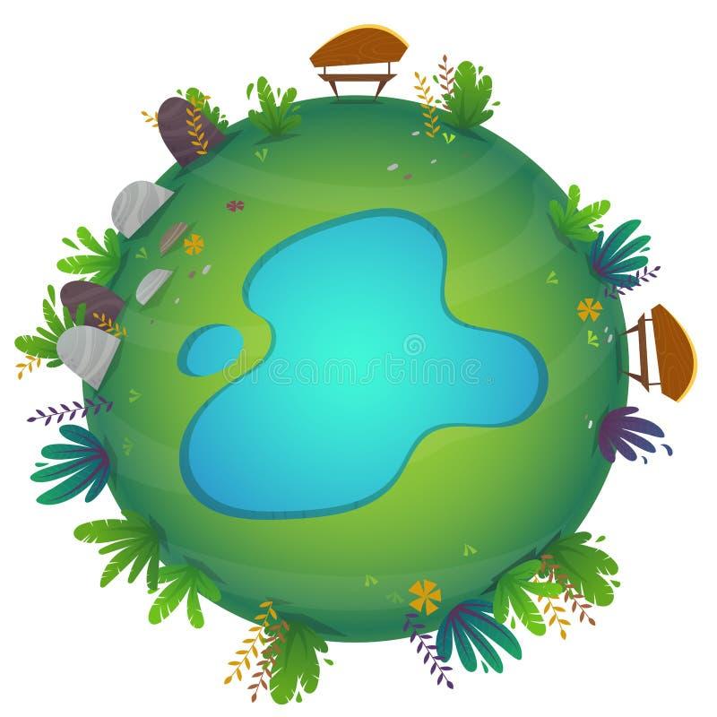 Arround ?wiatowego k??kowego panorama parka widoku miniatury planety lasowy poj?cie z trawy polem zielona pok?j natura, ro?liny i ilustracji