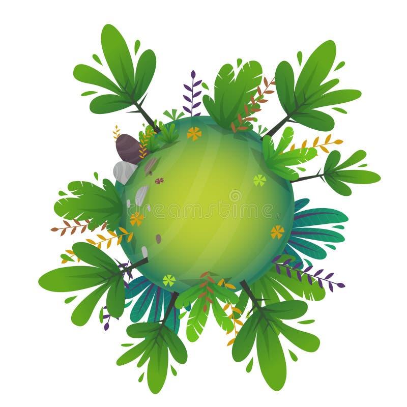 Arround ?wiatowego k??kowego panorama parka widoku miniatury planety lasowy poj?cie z trawy polem zielona pok?j natura, ro?liny i ilustracja wektor