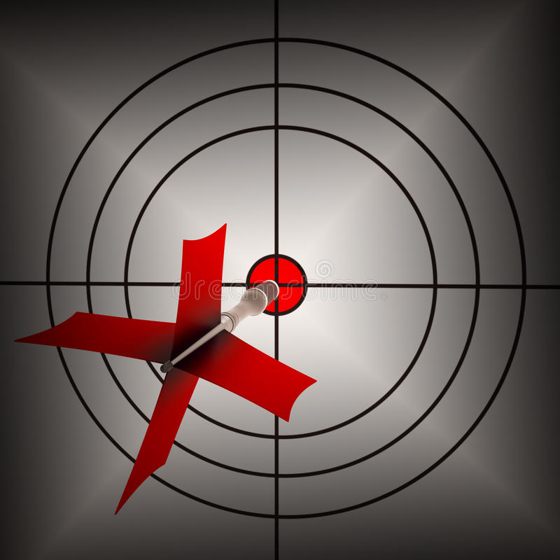 Arrow Aiming On Dartboard Shows Aiming Accuracy royalty free illustration
