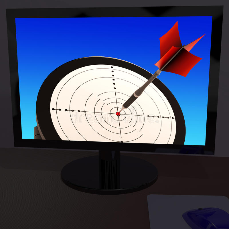 Arrow Aiming On Monitor Showing Performance royalty free illustration
