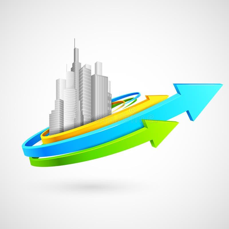 Arrow Around Building royalty free illustration