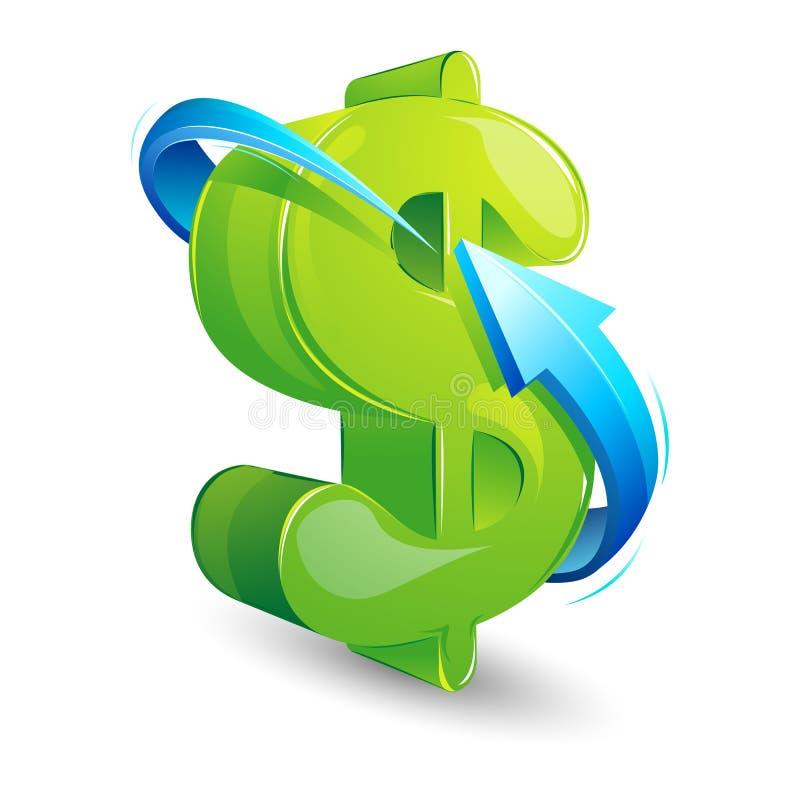 Arrow around Dollar stock illustration