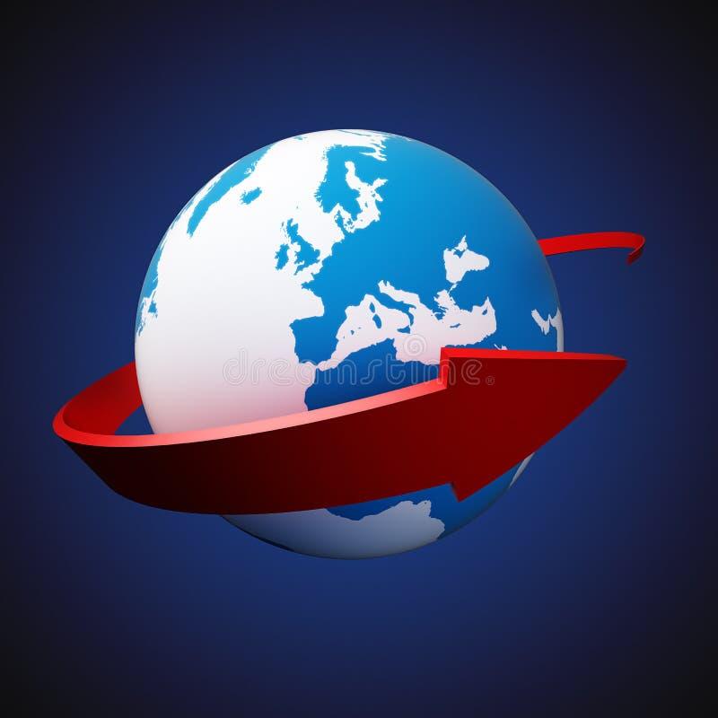 Download Arrow around Earth stock illustration. Illustration of globe - 32204559