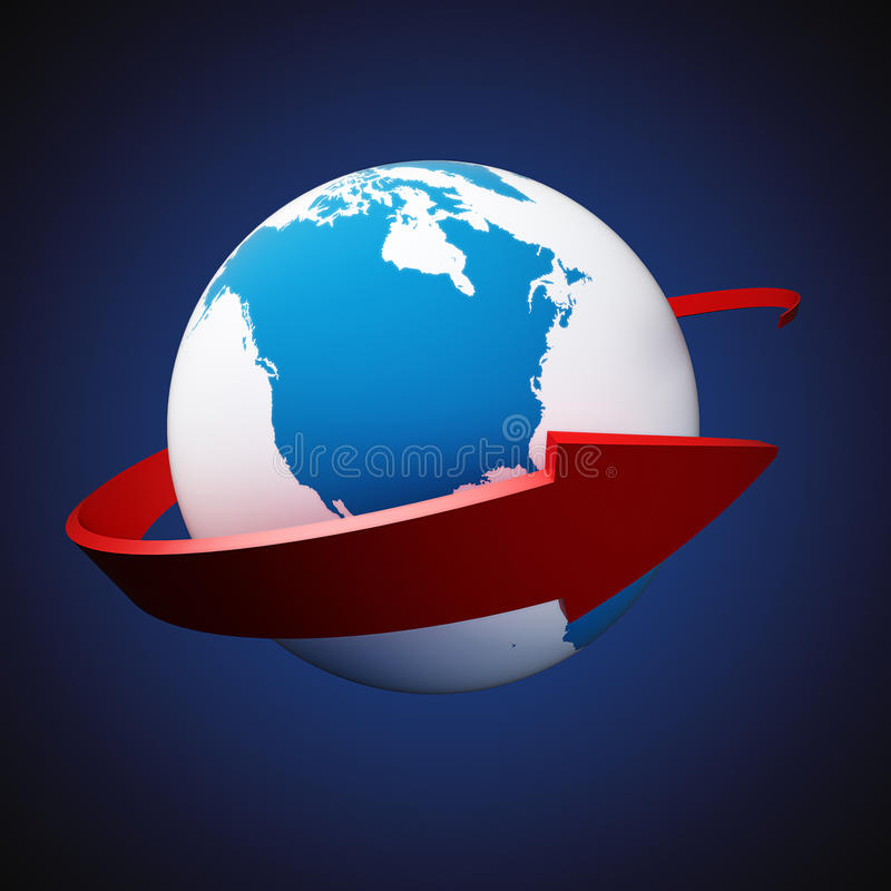 Download Arrow around Earth stock illustration. Illustration of globe - 32205770