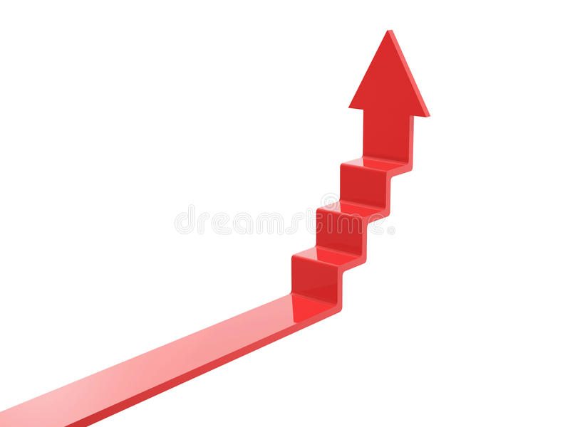 Arrow ascend steps. Isolated on white background royalty free illustration