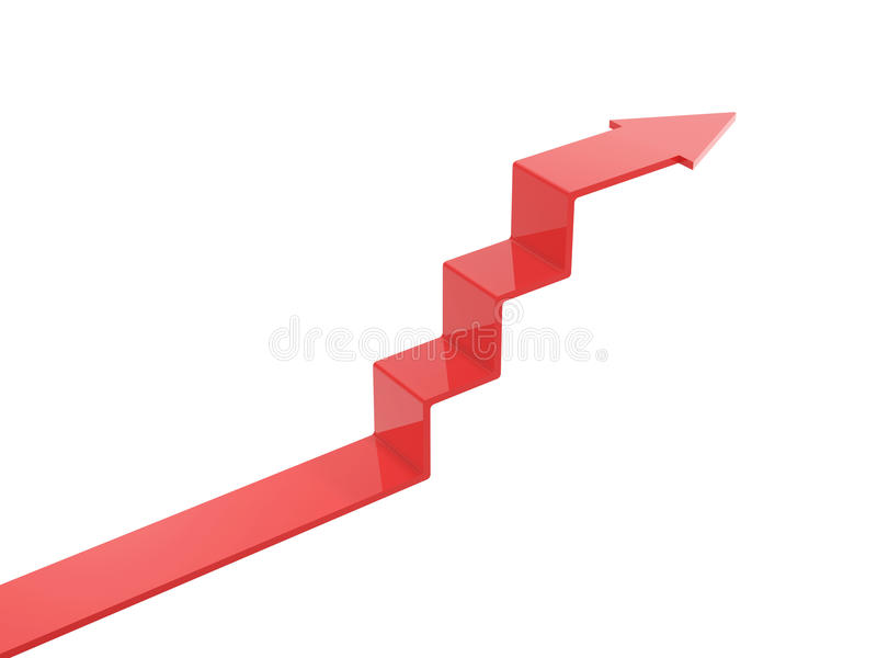 Arrow ascend steps. Isolated on white background stock illustration