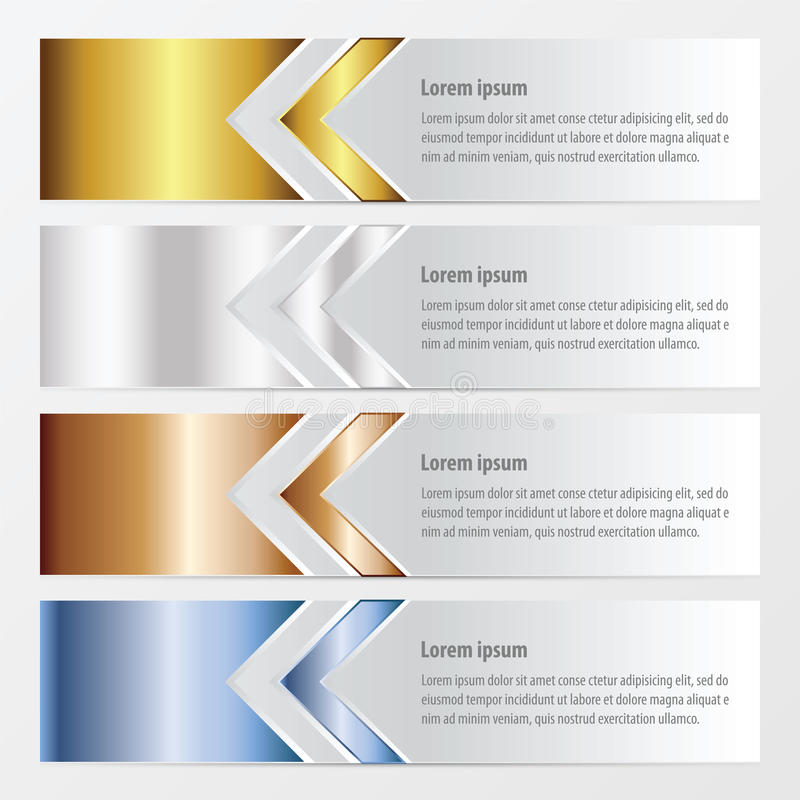 Arrow Banner design gold, bronze, silver, blue color royalty free stock image