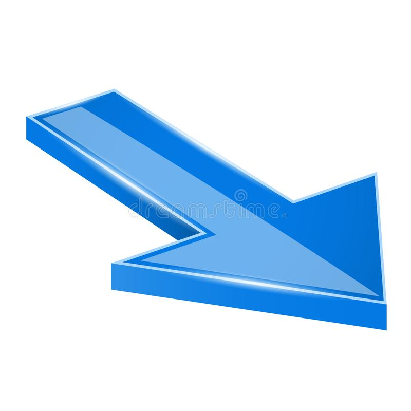 Arrow. Blue moving down 3d icon stock illustration
