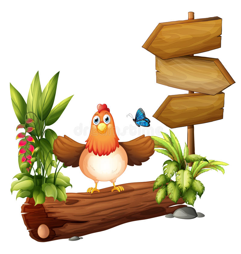 Download Arrow Boards With A Hen And A Butterfly Stock Vector - Image: 33203705
