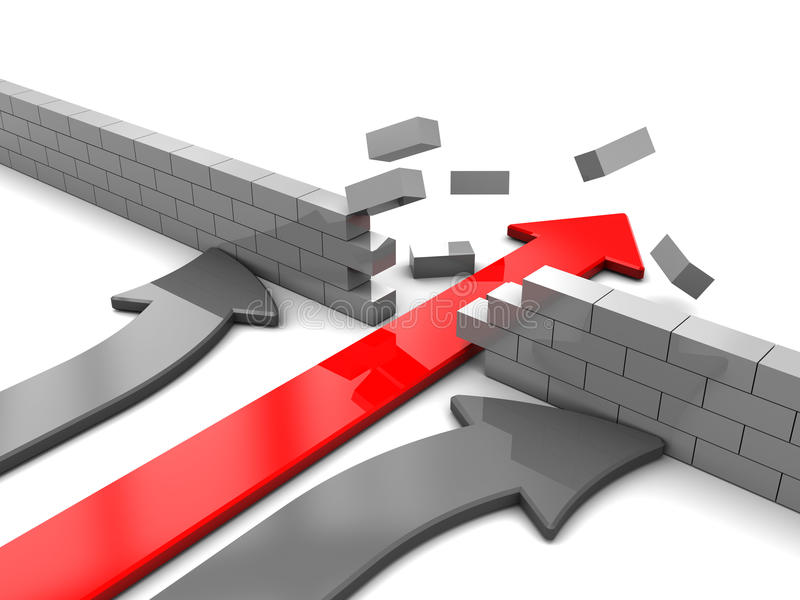 Arrow breaking wall vector illustration