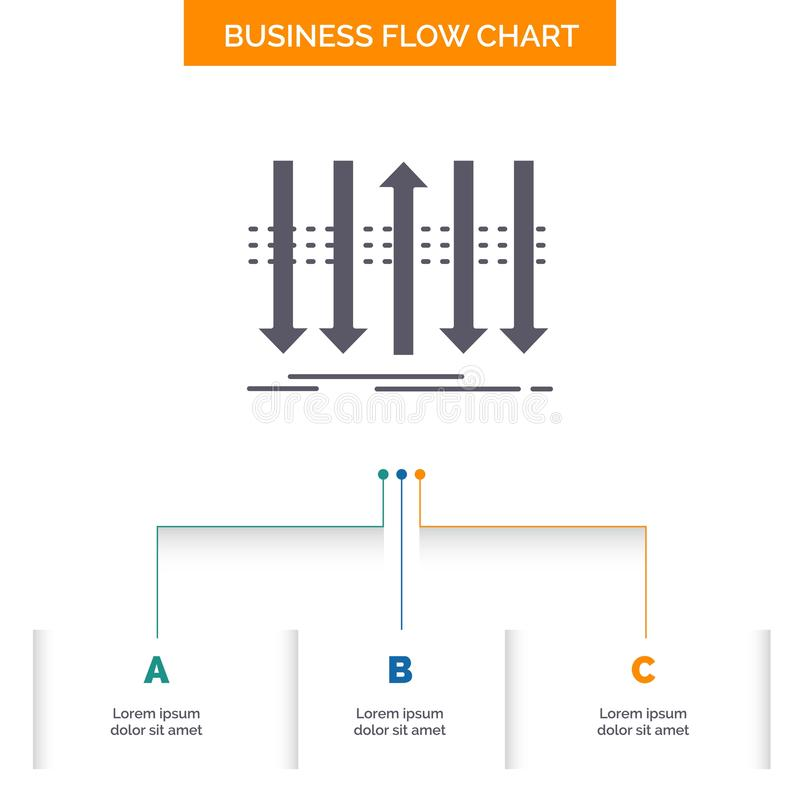 Arrow, business, distinction, forward, individuality Business Flow Chart Design with 3 Steps. Glyph Icon For Presentation. Background Template Place for text royalty free illustration