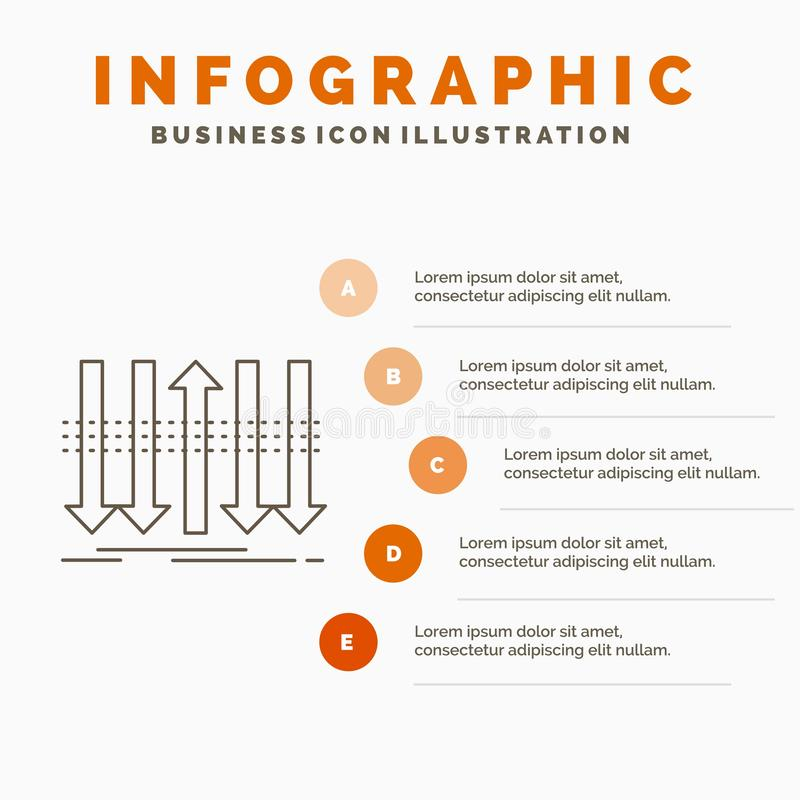 Arrow, business, distinction, forward, individuality Infographics Template for Website and Presentation. Line Gray icon with. Orange infographic style vector royalty free illustration