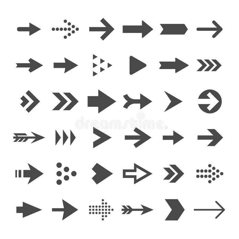 Arrow button icons. Right arrowhead signs. Rewind and next vector symbols vector illustration