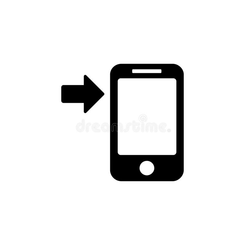 Arrow button phone icon. Simple glyph, flat vector of Technology icons for UI and UX, website or mobile application. On white background royalty free illustration