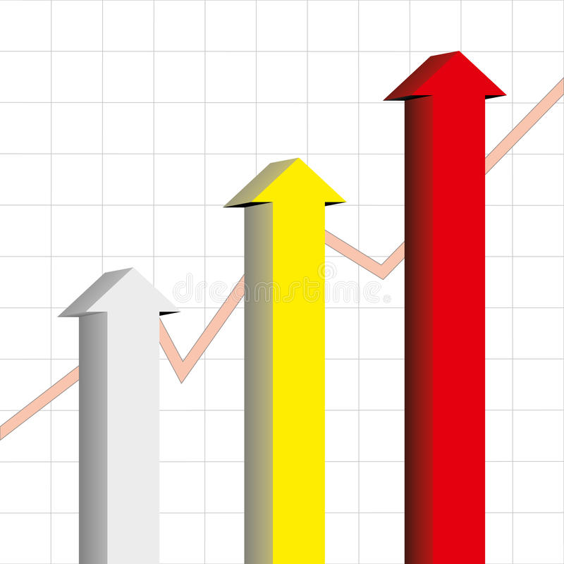 Arrow chart. With graph background royalty free illustration