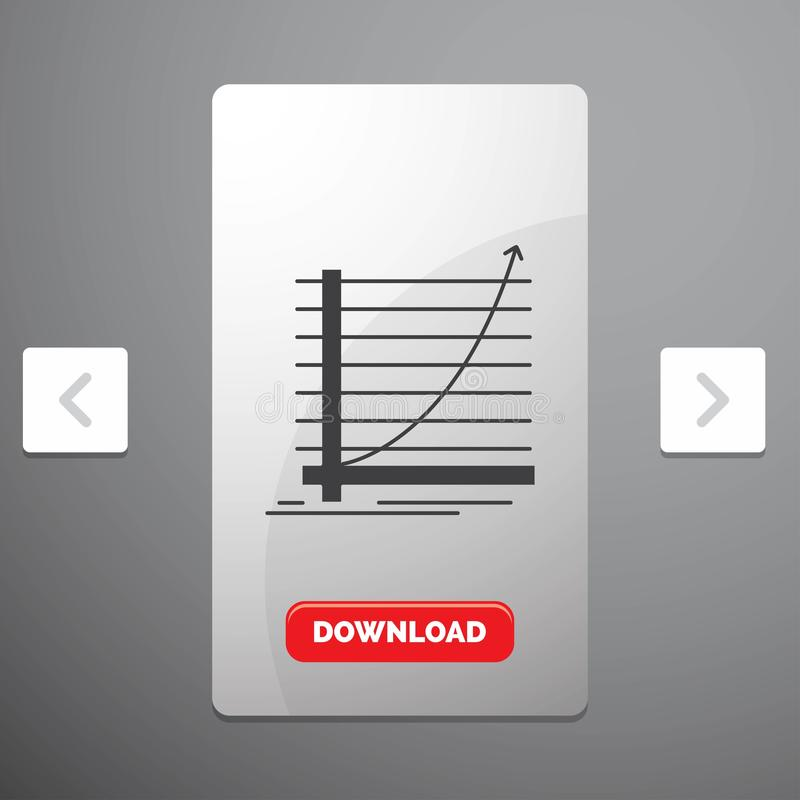 Arrow, chart, curve, experience, goal Glyph Icon in Carousal Pagination Slider Design & Red Download Button. Vector EPS10 Abstract Template background royalty free illustration