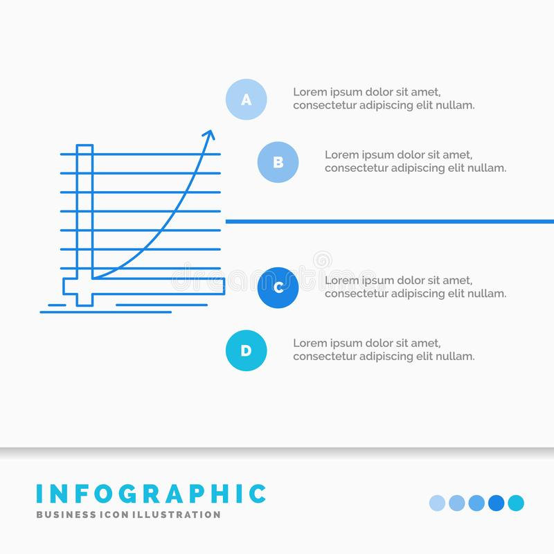 Arrow, chart, curve, experience, goal Infographics Template for Website and Presentation. Line Blue icon infographic style vector royalty free illustration