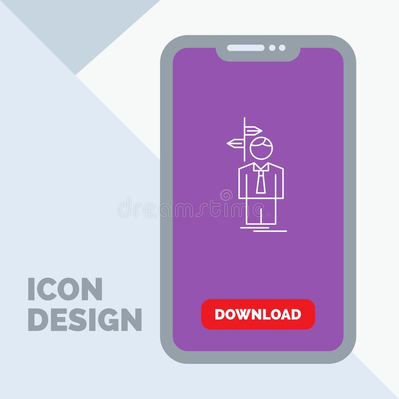 Arrow, choice, choose, decision, direction Line Icon in Mobile for Download Page. Vector EPS10 Abstract Template background stock illustration