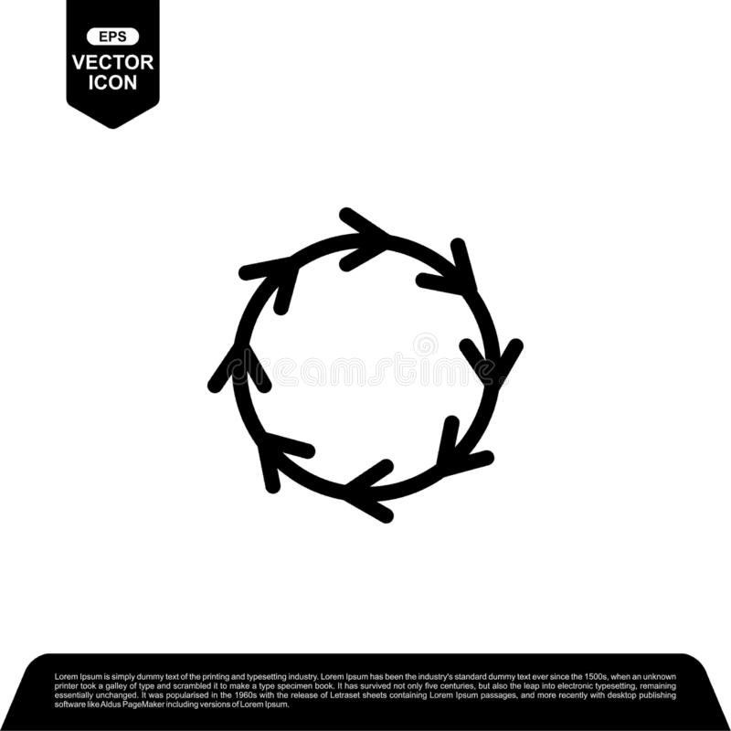 Arrow circle icon design vector, reload vector illustration. Black outline vector icons, isolated against the white background for your company stock illustration