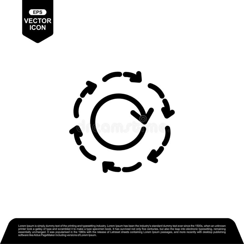 Arrow circle icon design vector, reload vector illustration. Black outline vector icons, isolated against the white background for your company royalty free illustration
