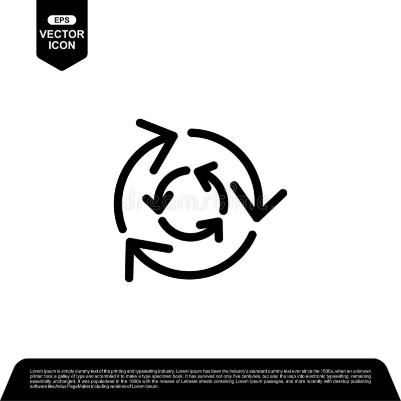 Arrow circle icon design vector, reload vector illustration. Black outline vector icons, isolated against the white background for your company vector illustration