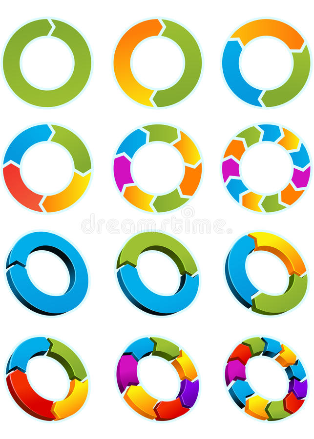Arrow circles. Set of Different arrow circles isolated on the white