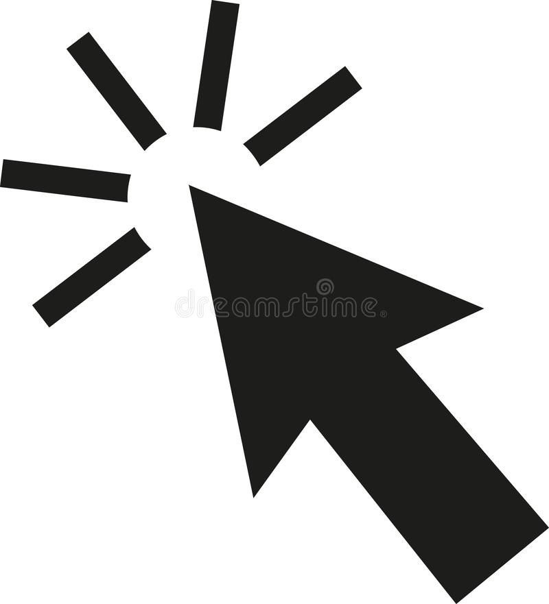 Arrow clicking mouse royalty free illustration
