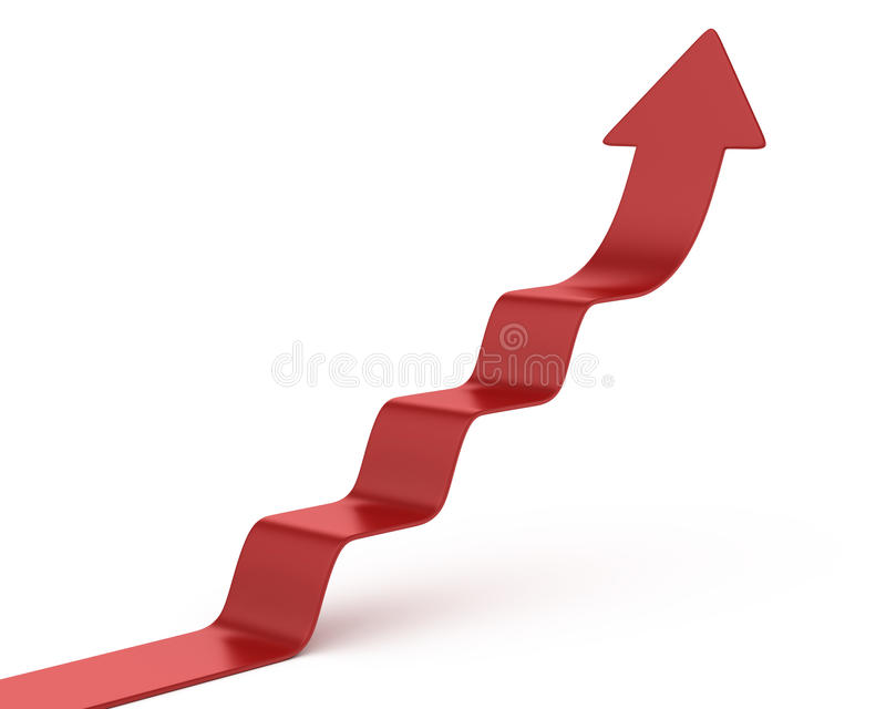 Arrow climbing up over a staircase stock illustration