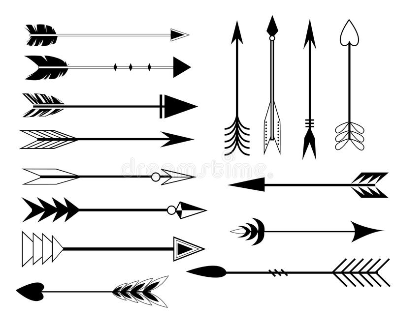 Arrow Clip Art Set In Vector On White Background Hand Drawn Vintage Design Elements Retro Style Arrows