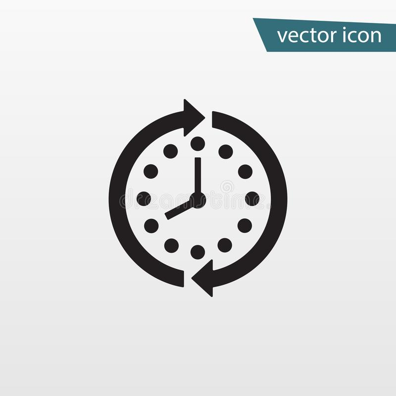 Arrow clock icon. Circle time vector. Trendy stop wait symbol isolated. Modern simple flat hour sign vector illustration