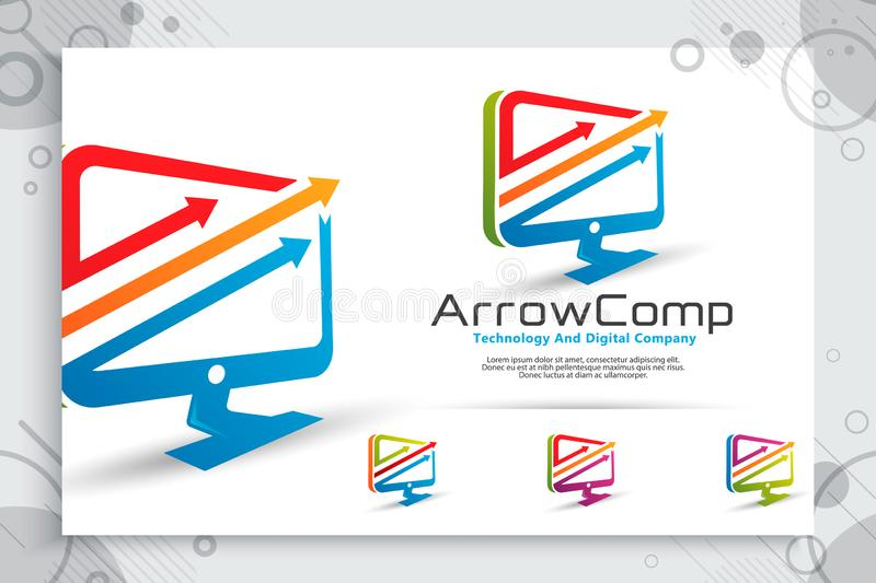 Arrow computer vector logo with modern concept design ,  illustration of computer as a symbol of technology and template digital. Business company service royalty free illustration