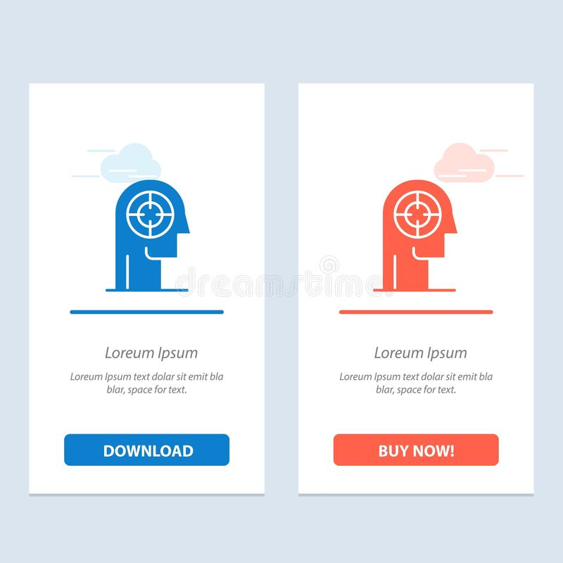 Arrow, Concentration, Focus, Head, Human  Blue and Red Download and Buy Now web Widget Card Template vector illustration