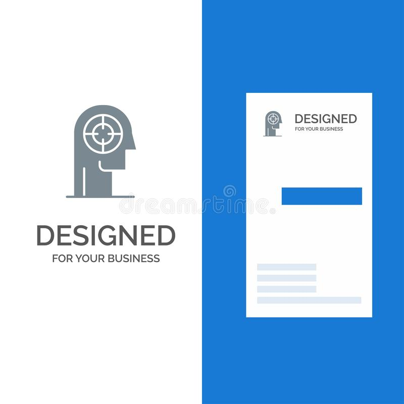 Arrow, Concentration, Focus, Head, Human Grey Logo Design and Business Card Template royalty free illustration