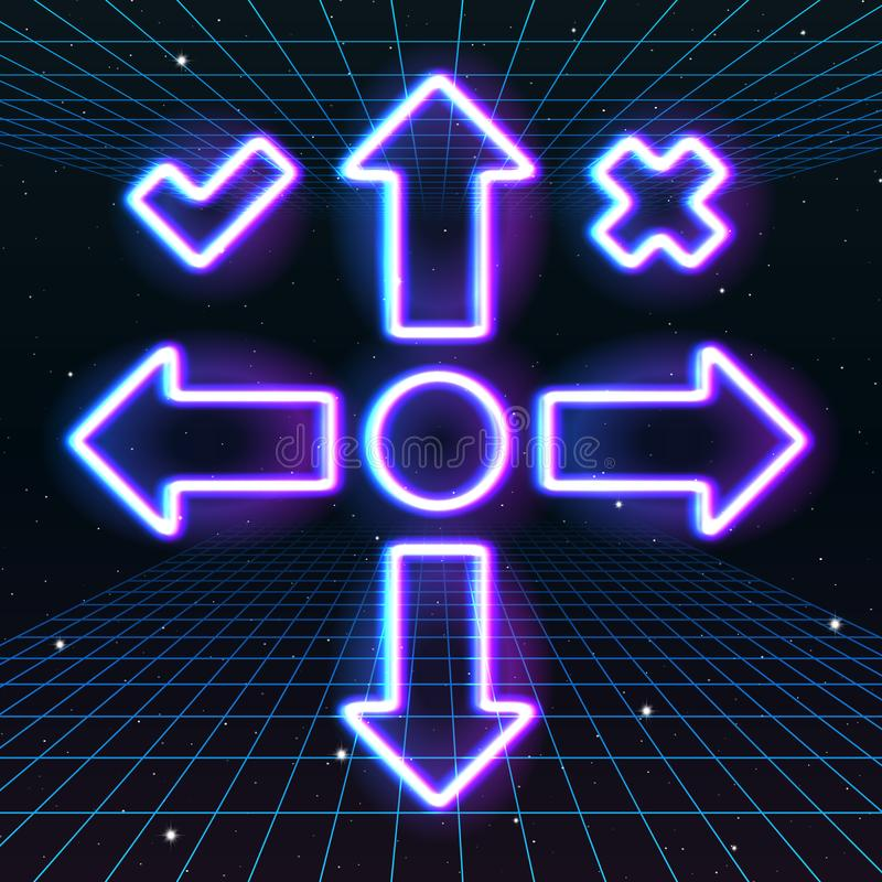 Arrow or cursor icons with retro 80s neon game style. Controller keys with direction cross, on and off buttons on gamepad stock illustration