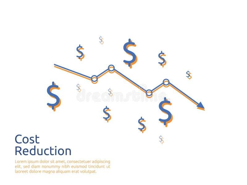 Arrow decrease icon. dollar money fall down symbol. economy stretching rising drop. Business lost crisis decrease. cost reduction. Bankrupt icon. vector vector illustration