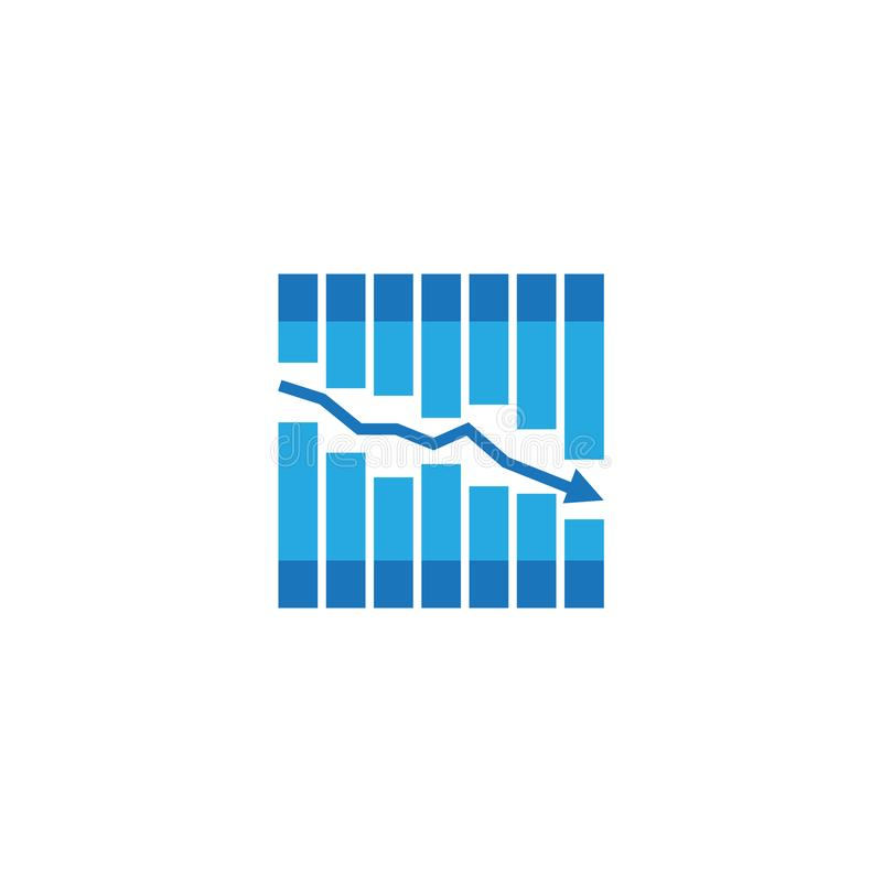 Arrow decrease icon. dollar money fall down symbol. economy stretching rising drop. Business lost crisis decrease. cost reduction. Bankrupt icon. vector stock illustration