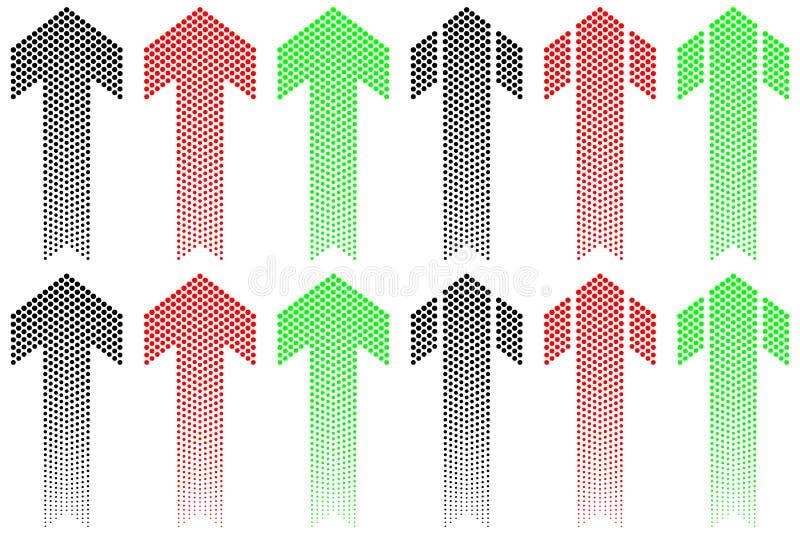Arrow of decreasing dots royalty free illustration